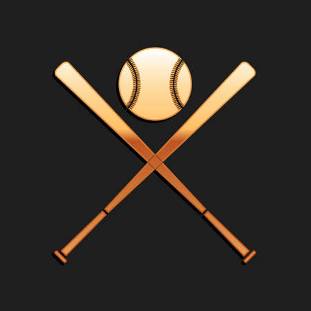Gold Crossed baseball bats and ball icon isolated on black background. Long shadow style. Vector  イラスト・ベクター素材