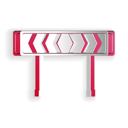 Paper cut Safety barricade symbol icon isolated on white background. Traffic sign road. Road block sign. Paper art style. Vector