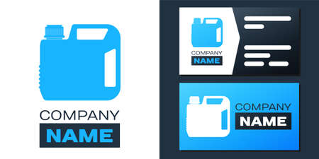 Logotype Plastic canister for motor machine oil icon isolated on white background. Oil gallon. Oil change service and repair. Engine oil sign. Logo design template element. Vector