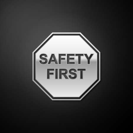 Silver Safety First octagonal shape icon isolated on black background. Long shadow style. Vector