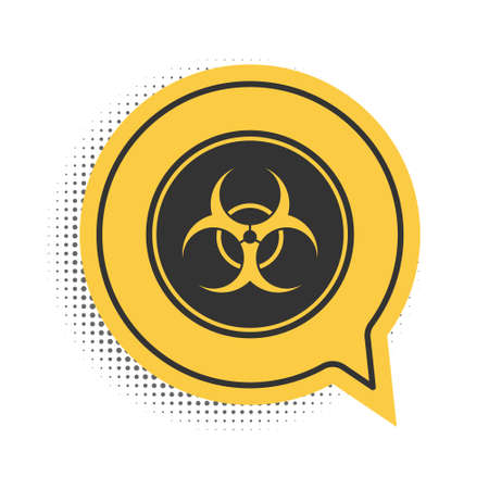 Black Biohazard symbol icon isolated on white background. Yellow speech bubble symbol. Vector
