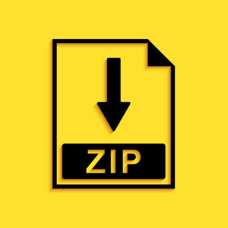 Black ZIP file document icon. Download ZIP button icon isolated on yellow background. Long shadow style. Vector 矢量图像