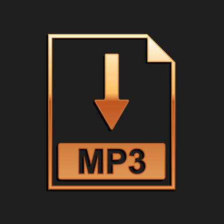 Gold MP3 file document icon. Download MP3 button icon isolated on black background. Long shadow style. Vector