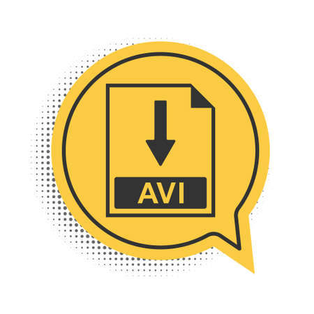 Black AVI file document icon. Download AVI button icon isolated on white background. Yellow speech bubble symbol. Vector