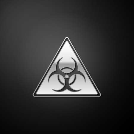 Silver Triangle sign with Biohazard symbol icon isolated on black background. Long shadow style. Vector Ilustração