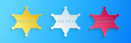 Paper cut Hexagonal sheriff star icon isolated on blue background. Sheriff badge symbol. Paper art style. Vector 矢量图像