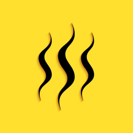 Black Steam icon isolated on yellow background. Long shadow style. Vector