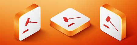 Isometric Judge gavel icon isolated on orange background. Gavel for adjudication of sentences and bills, court, justice, with a stand. Auction hammer. Orange square button. Vector