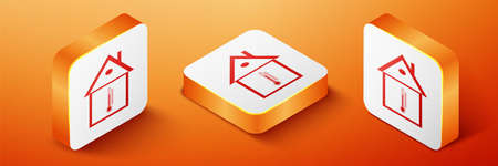 Isometric House temperature icon isolated on orange background. Thermometer icon. Orange square button. Vector