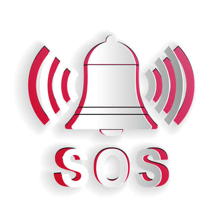 Paper cut Alarm bell and SOS lettering icon isolated on white background. Warning bell, help sign. Emergency SOS button. Paper art style. Vector Ilustração