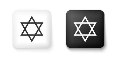 Black and white Star of David icon isolated on white background. Jewish religion symbol. Square button. Vector