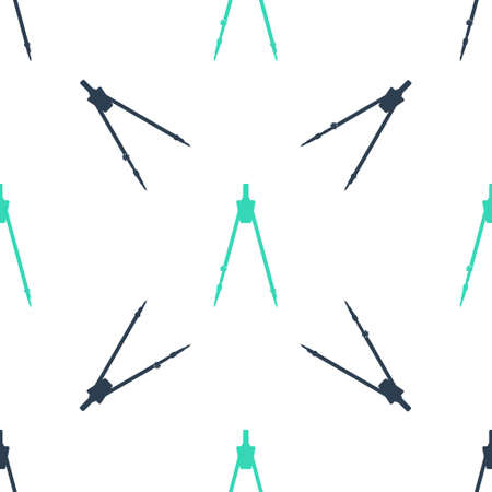 Green Drawing compass icon isolated seamless pattern on white background. Compasses sign. Drawing and educational tools. Geometric instrument. Education sign. Vector Ilustracja