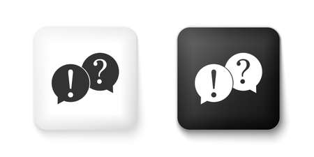 Black and white Speech bubbles with Question and Exclamation marks icon isolated on white background. FAQ sign. Copy files, chat speech bubble. Square button. Vector