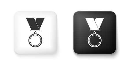 Black and white Medal icon isolated on white background. Winner symbol. Square button. Vector