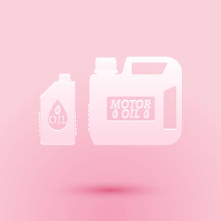 Paper cut Plastic canister for motor machine oil icon isolated on pink background. Oil gallon. Oil change service and repair. Engine oil sign. Paper art style. Vector 矢量图像