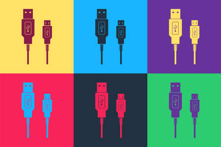Pop art USB Micro cables icon isolated on color background. Connectors and sockets for PC and mobile devices. Smartphone recharge supply. Vector 矢量图像