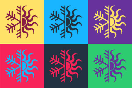 Pop art Hot and cold symbol. Sun and snowflake icon isolated on color background. Winter and summer symbol. Vector