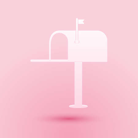 Paper cut Open mail box icon isolated on pink background. Mailbox icon. Mail postbox on pole with flag. Paper art style. Vector