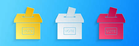 Paper cut Vote box or ballot box with envelope icon isolated on blue background. Paper art style. Vector