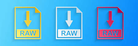 Paper cut RAW file document icon. Download RAW button icon isolated on blue background. Paper art style. Vector