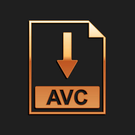 Gold AVC file document icon. Download AVC button icon isolated on black background. Long shadow style. Vector 矢量图像