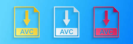 Paper cut AVC file document icon. Download AVC button icon isolated on blue background. Paper art style. Vector