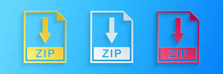 Paper cut ZIP file document icon. Download ZIP button icon isolated on blue background. Paper art style. Vector 矢量图像