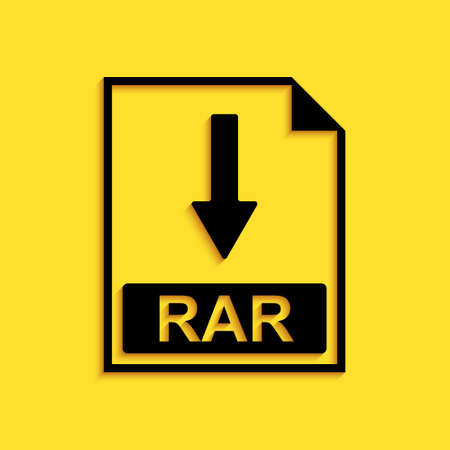 Black RAR file document icon. Download RAR button icon isolated on yellow background. Long shadow style. Vector