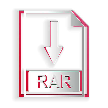 Paper cut RAR file document icon. Download RAR button icon isolated on white background. Paper art style. Vector