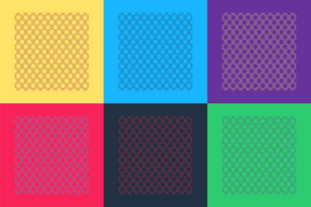 Pop art Chain Fence icon isolated on color background. Metallic wire mesh pattern. Vector