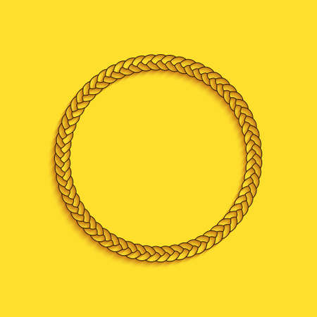 Black Rope frame icon isolated on yellow background. Frames from nautical rope. Round marine rope for decoration. Long shadow style. Vector