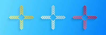 Paper cut Arrows in four directions icon isolated on blue background. Paper art style. Vector Illustration