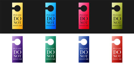 Set Please do not disturb icon isolated on black and white background. Hotel Door Hanger Tags. Vector