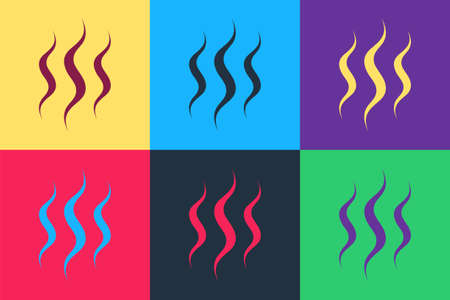 Pop art Steam icon isolated on color background. Vector