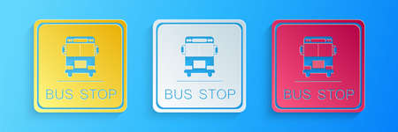 Paper cut Bus stop icon isolated on blue background. Paper art style. Vector