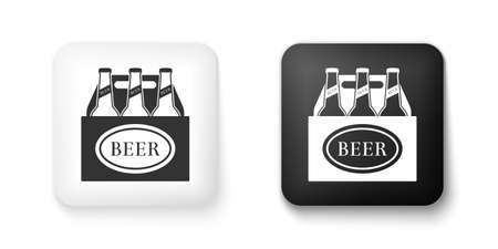 Black and white Pack of beer bottles icon isolated on white background. Case crate beer box sign. Square button. Vector