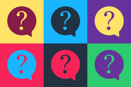 Pop art Question mark in circle icon isolated on color background. Hazard warning symbol. FAQ sign. Copy files, chat speech bubble and chart web icons. Vector