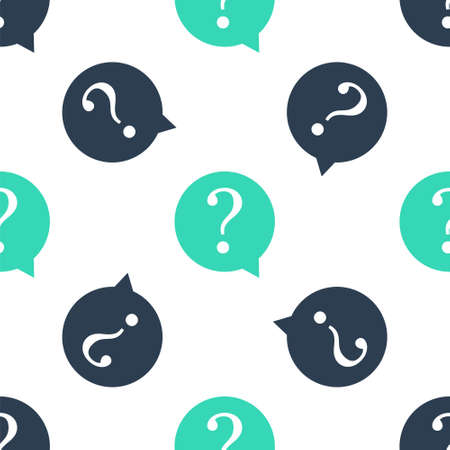 Green Question mark in circle icon isolated seamless pattern on white background. Hazard warning symbol. FAQ sign. Copy files, chat speech bubble and chart web icons. Vector Ilustrace