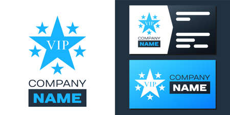 Logotype Star VIP with circle of stars icon isolated on white background. Vettoriali