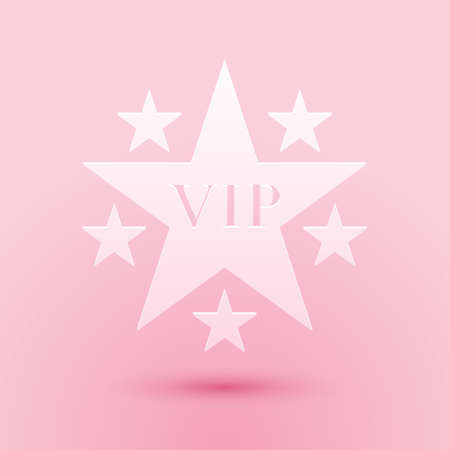 Paper cut Star VIP with circle of stars icon isolated on pink background. Paper art style. Vector