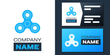 Logotype Fidget spinner icon isolated on white background. Stress relieving toy. Trendy hand spinner.