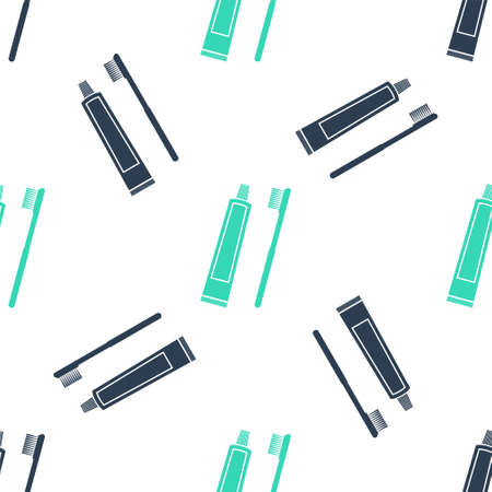 Green Tube of toothpaste and toothbrush icon isolated seamless pattern on white background. Vector