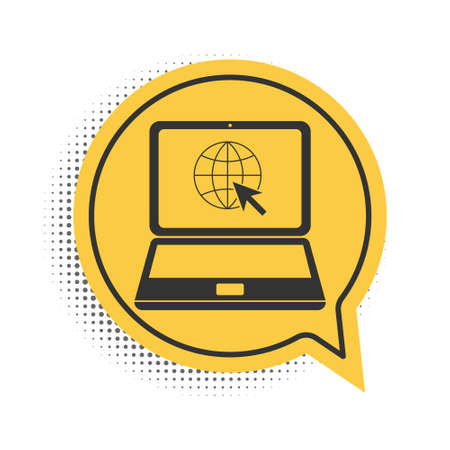 Black Website on laptop screen icon isolated on white background. Laptop with globe and cursor. World wide web symbol. Yellow speech bubble symbol. Vector