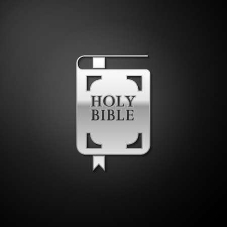 Silver Holy bible book icon isolated on black background. Long shadow style. Vector 일러스트