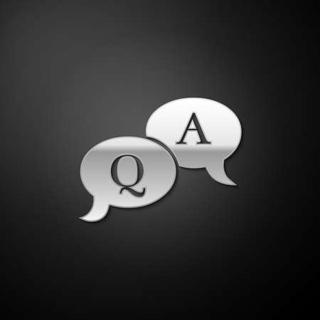 Silver Question and Answer mark in speech bubble icon isolated on black background. Q and A symbol. FAQ sign. Copy files, chat speech bubble. Long shadow style. Vector