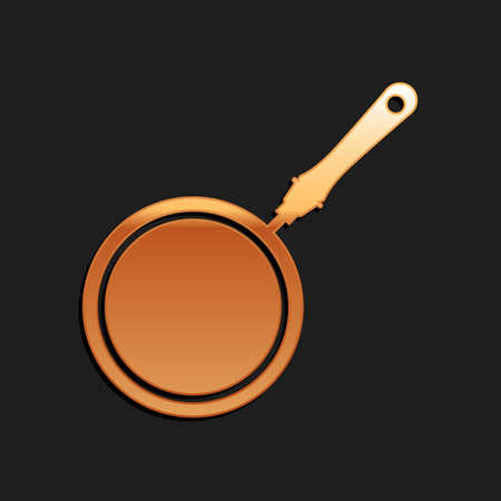 Gold Frying pan icon isolated on black background. Long shadow style. Vector