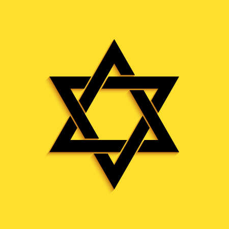 Black Star of David icon isolated on yellow background. Jewish religion symbol. Long shadow style. Vector