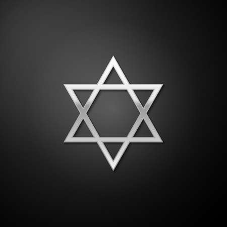 Silver Star of David icon isolated on black background. Jewish religion symbol. Long shadow style. Vector
