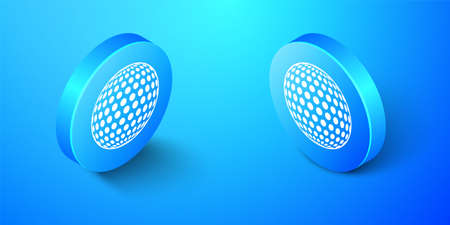Isometric Golf icon isolated on blue background. Blue circle button. Vector