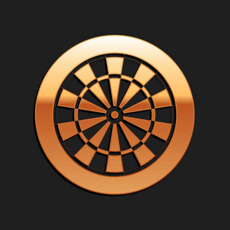 Gold Classic darts board with twenty black and white sectors icon isolated on black background. Dart board sign. Dartboard sign. Game concept. Long shadow style. Vector Ilustração